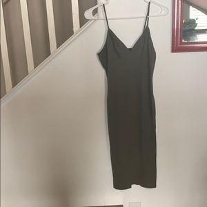 Ribbed Olive Green Cami Dress